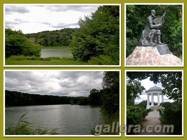Сокиринцы. Памятник О.Вересаю. Ротонда. Вид на озеро.
