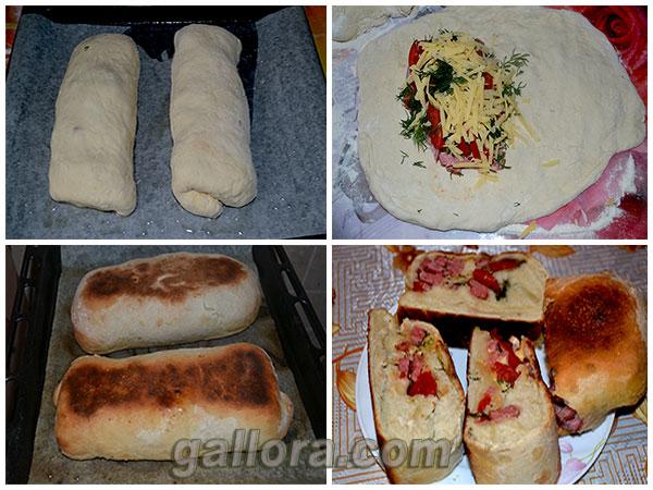 Выпечка домашнего хлеба в духовке. Рулетная пицца.