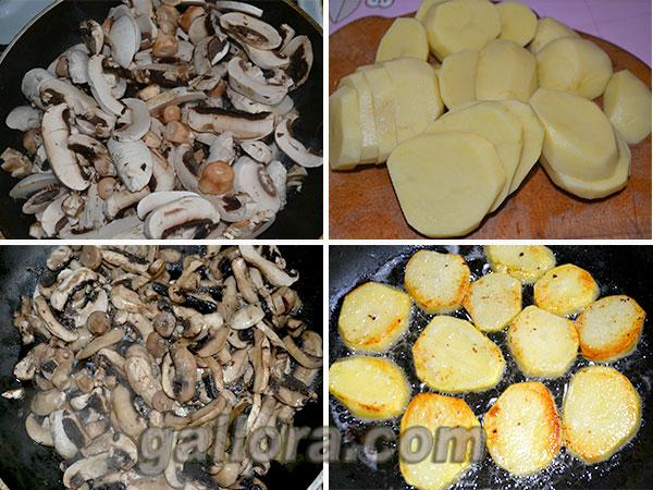 картофель и грибы для приготовления