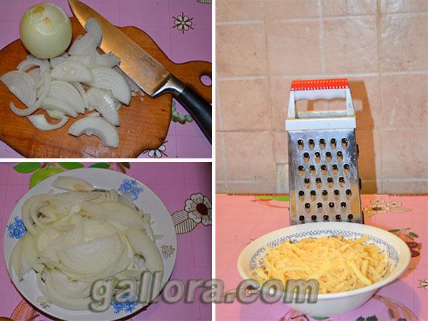 подготавливаем луки сыр